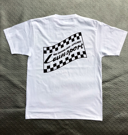 【L'aunsport CHECKERED FLAG】 T-shirts WHITE